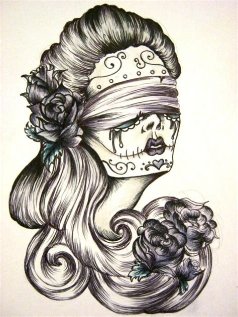 tattoos of sugar skulls and roses blindfolds and roses by hanbambam sugar skull flowers