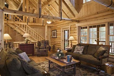 Log Home Living Rooms by A Lakeside Log Home In Minnesota