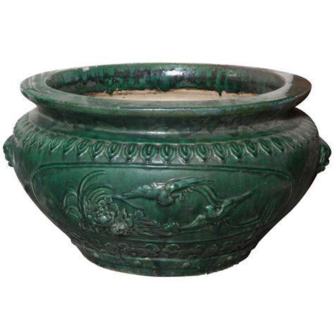 antique large glazed ceramic planters hunan province at