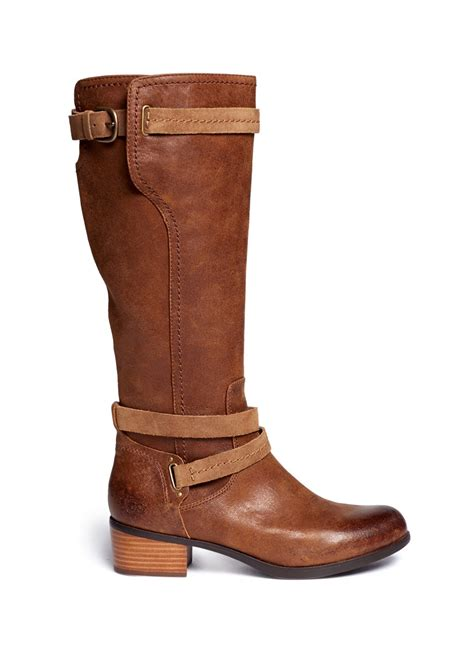 brown leather boots for ugg darcie leather boots in brown lyst