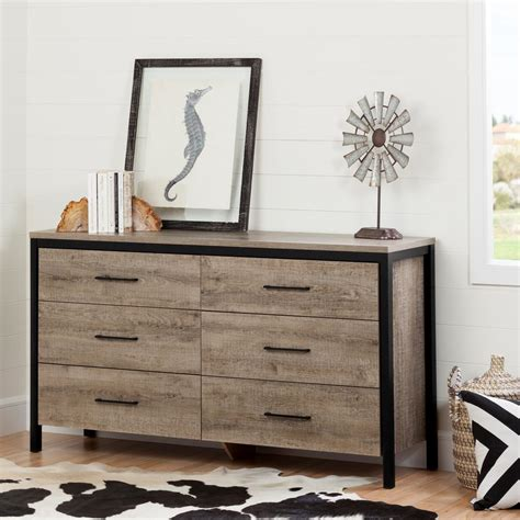 weston weathered oak 6 drawer dresser south shore munich 6 drawer weathered oak dresser 10491