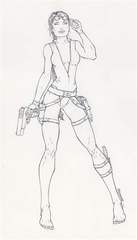 free lara croft sketch coloring pages