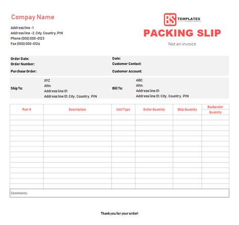 slip template packing slip template free in excel sheet word format