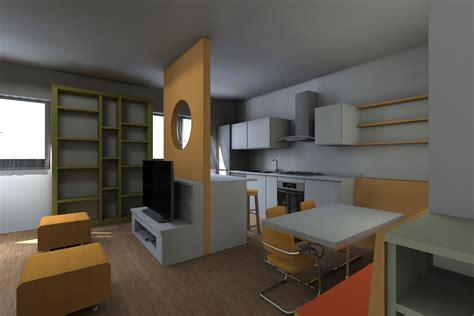 arredamento soggiorno con cucina a vista soggiorno con cucina a vista pianta e prospetto in 3d