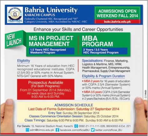 Mba Subjects In Karachi by Mba Weekend Program In Karachi Bahria Learningall