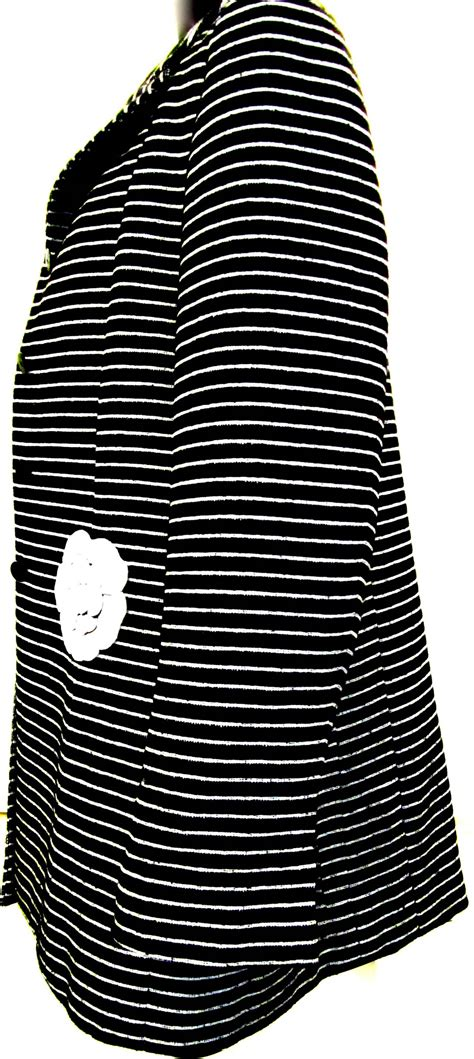 Chanel Stripe chanel black and white stripe jacket camilla applique at 1stdibs