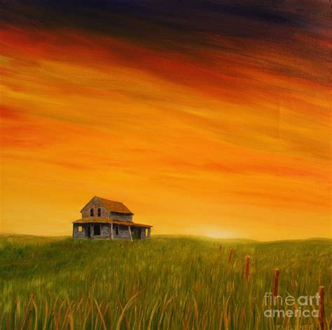 prairie home at sunset painting by gary faulkner