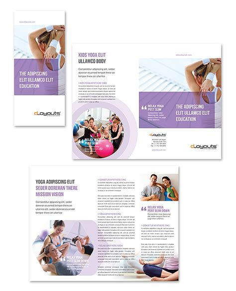 yoga instructor studio tri fold brochure template