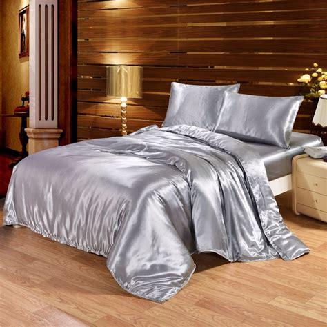 grey satin comforter solid color satin faux silk grey bedding set duvet cover