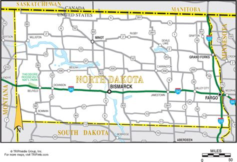 printable south dakota road map north dakota map