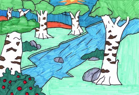 imagenes de rios faciles para dibujar como dibujar un bosque imagui