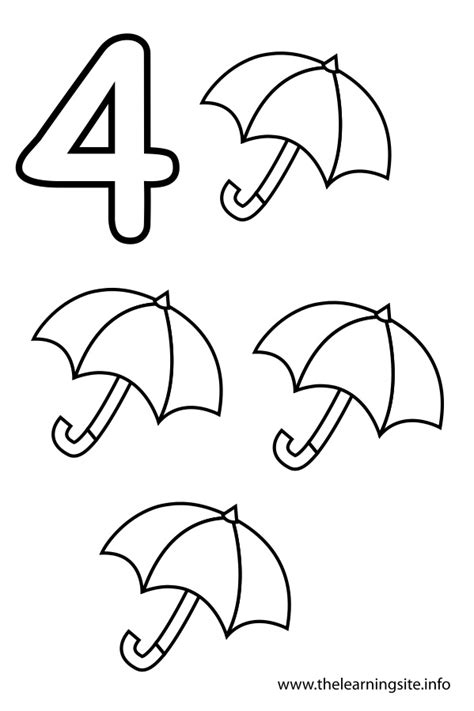 Number 4 Coloring Pages Preschool by The Learning Site