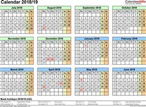 Calendar 2018 Word Version Split Year Calendars 2018 19 July To June For Word Uk