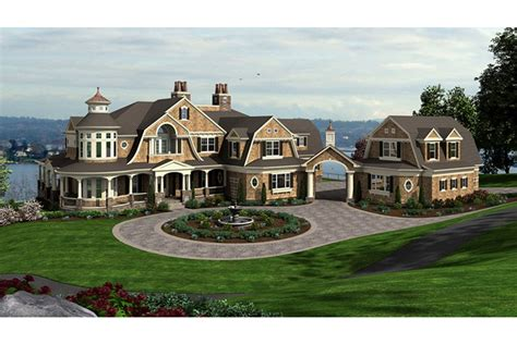 Walkout Basement Designs Splendid Shingle Style Manor Hwbdo77600 Shingle Style