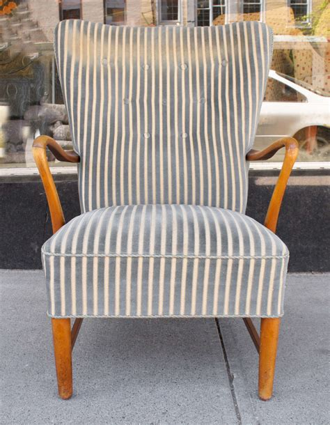 striped fabric armchairs pair of danish modern armchairs in striped fabric at 1stdibs