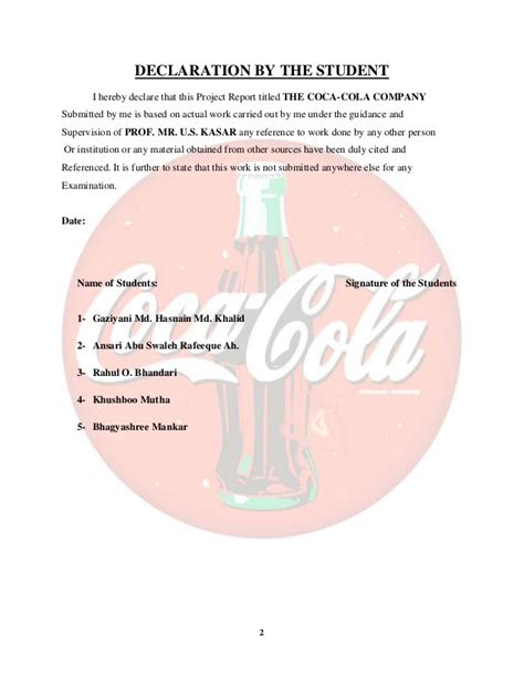 Mba 1 Year Vs 2 Year by Coca Cola Company Project Report Mba 1st Year