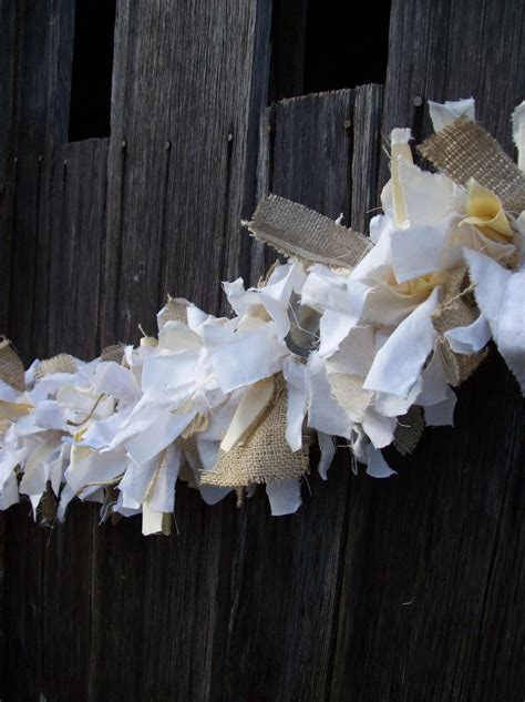 Rag Garland Rustic Wedding Decor Fabric Garland Rag Linen