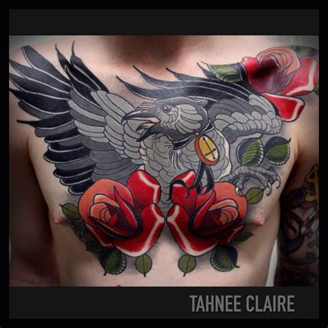 raven with rose tattoo tahnee certified artist