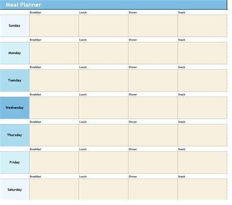 food planner template weekly meal planner template sle