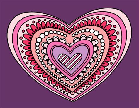imagenes mandalas de corazones dibujo de mandala coraz 243 n pintado por sofi8 en dibujos net
