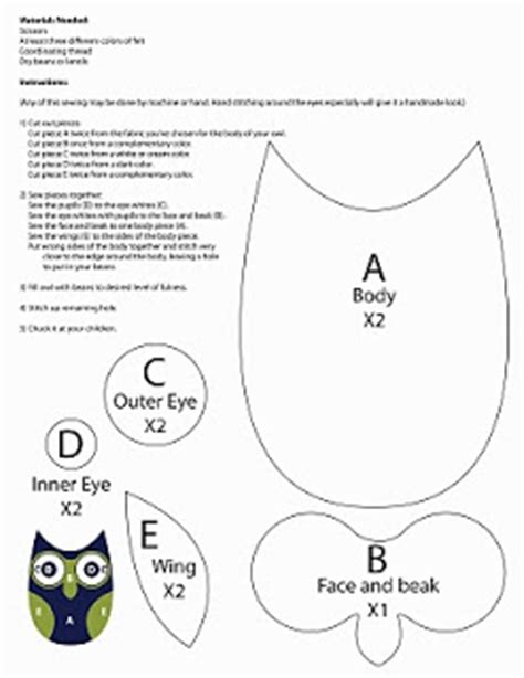 free printable owl pillow pattern ducklingpond owl pattern