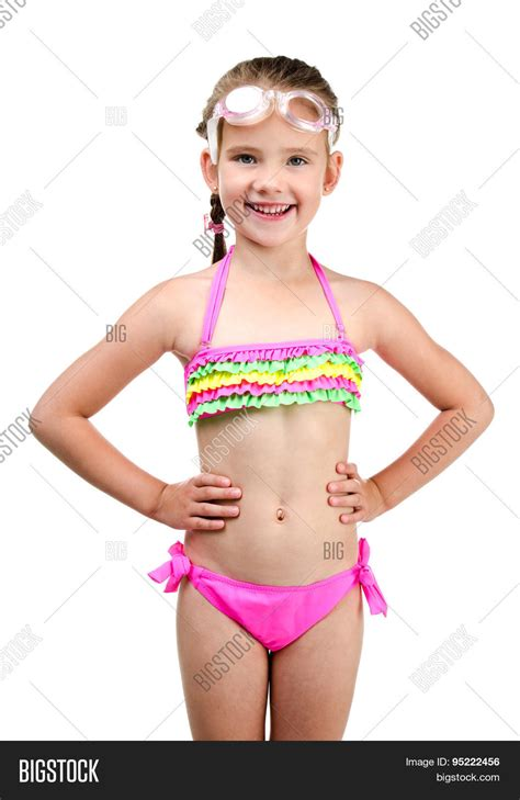 pimpandhost com young cute happy little girl swimsuit image photo bigstock