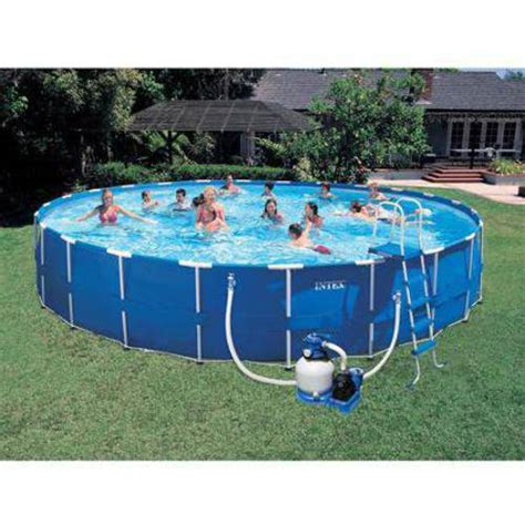 intex 24 x 52 quot metal frame swimming pool set sand