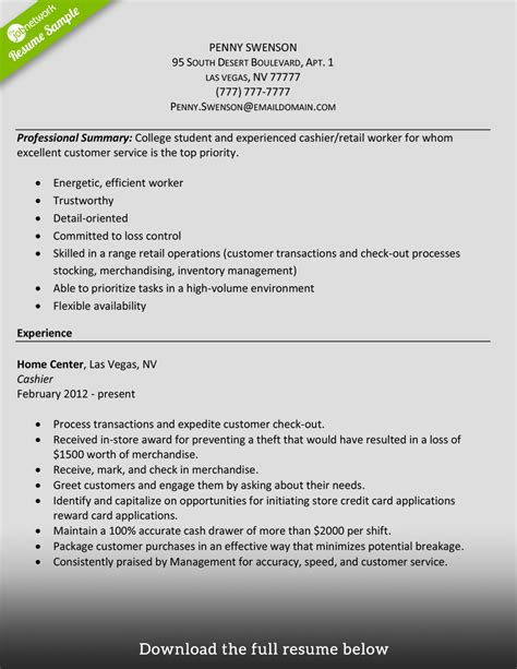 Cashier On Resume by How To Write A Cashier Resume Exles Included
