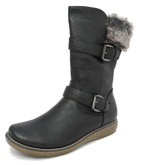 womens cats leather look mid calf winter boots black
