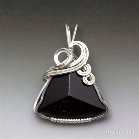 black schorl tourmaline sterling silver wire wrapped