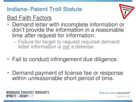 Demand Letter Response Time recent change to the indiana code to address patent demand letters fr