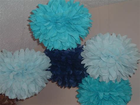 How To Make Tissue Paper Pom Poms Small - 15 small blue tissue paper poms on luulla