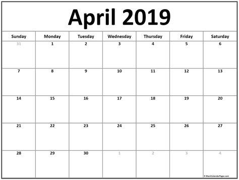 April 2019 Calendar 51 Calendar Templates Of 2019 Calendars Free Calendar Template 2019