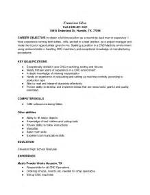 Cnc Machinist Sle Resume by Cnc Machinist Resume