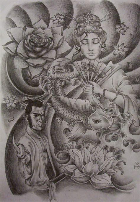 japanese art tattoo designs geisha samurai design by tattoosuzette on deviantart