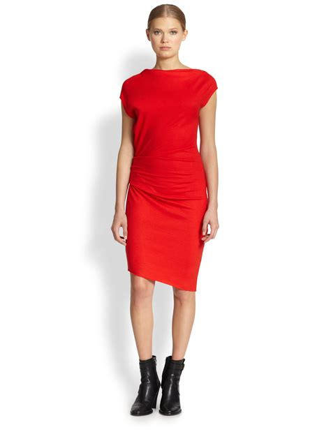 asymmetrical draped dress helmut lang sonar asymmetrical draped wool dress in red lyst