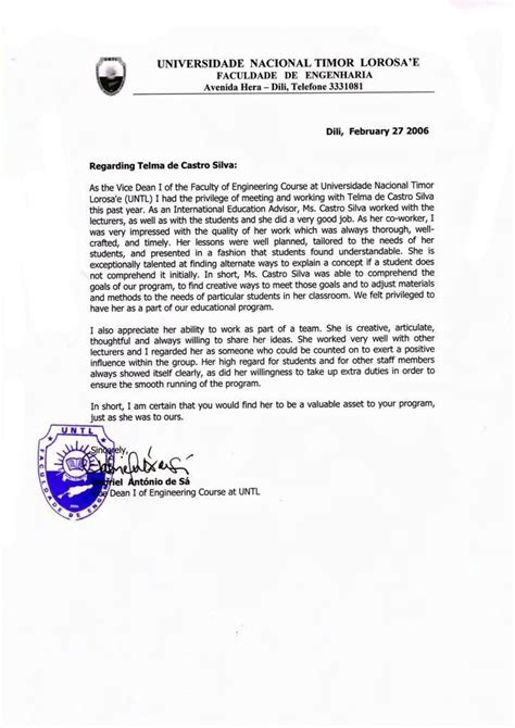 Reference Letter For Visa visa recommendation letter sle