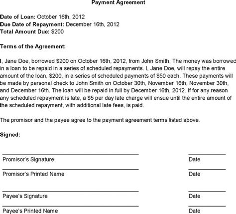 payment agreement contract payment agreement contract free premium