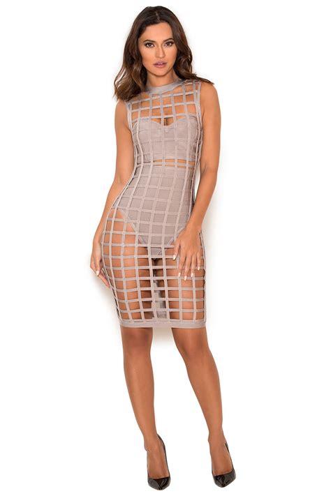 clothing bandage dresses thyda grey bandage cage
