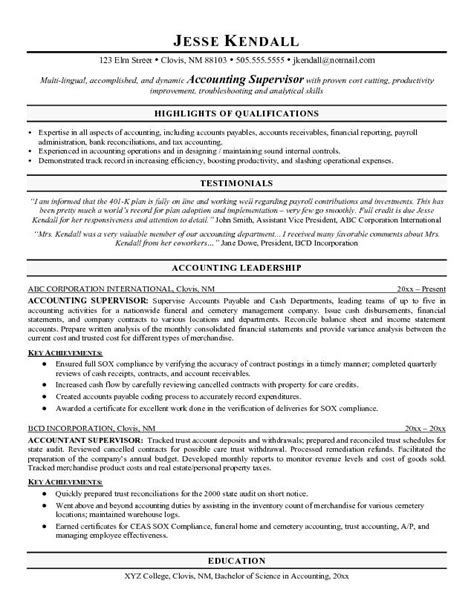 professional accounting resume 28 images exles of resumes sle resume profile statement