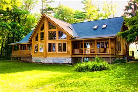 Log Cabins In Michigan For Rent by Lake Huron Large Log Home