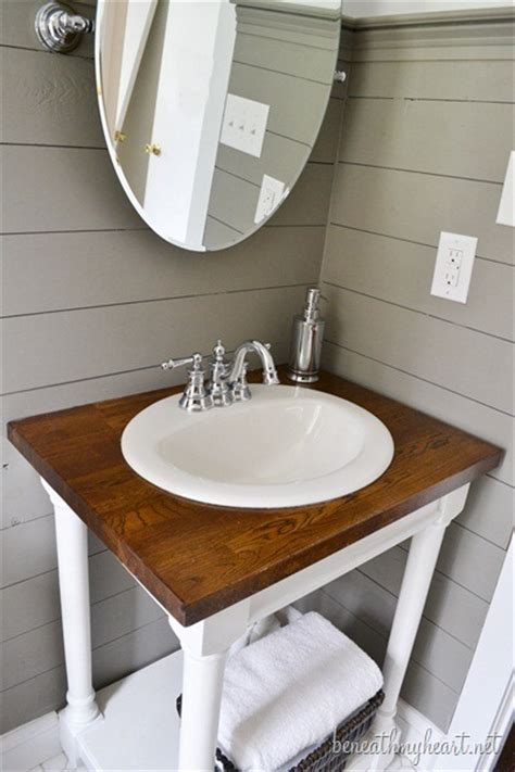 diy bathroom vanity top guest bathroom makeover reveal beneath my heart