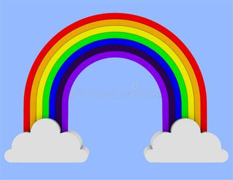 clipart arcobaleno 3d rendono di un arcobaleno misura due nuvole