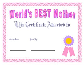 free printable gift certificates for mother s day world s best mother certificate printables printables