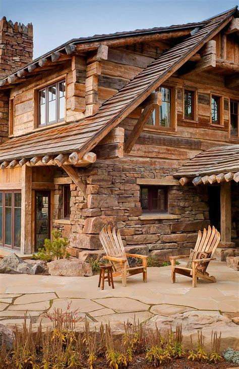 stone and wood homes dancing hearts montana patios cabin and house