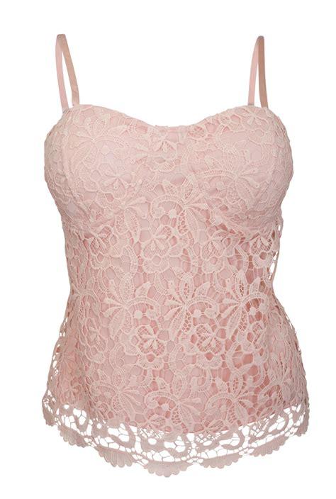 Crochet Lace Bustier Top plus size floral lace bustier crop bralette top pink
