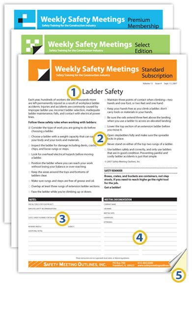 monthly safety meeting template safety meeting outlines weekly safety meeting sle
