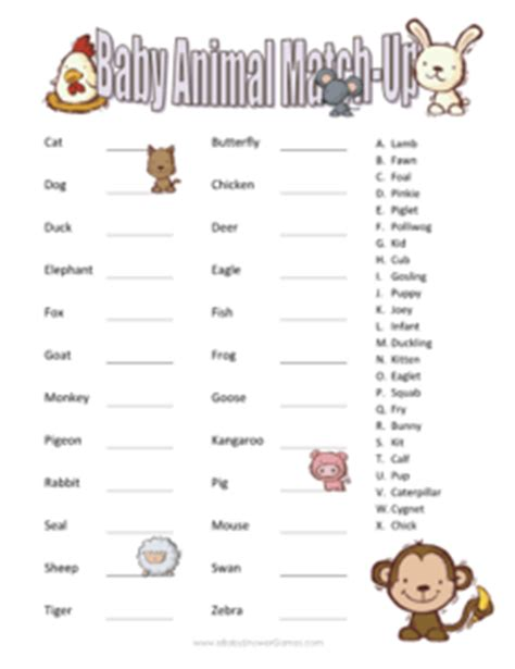 printable baby animal quiz printable baby animal match up game ebabyshowergames com