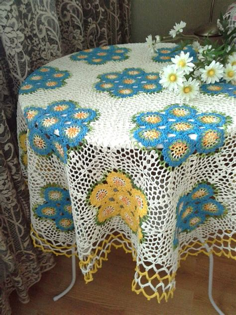Handmade Table Cloths - crochet tablecloth handmade crochet tablecloth home decor