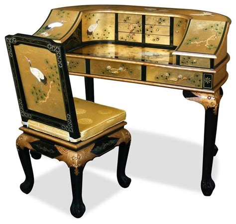 asian desk gold leaf crane motif harpsichord style desk w chair asian desks and hutches by china